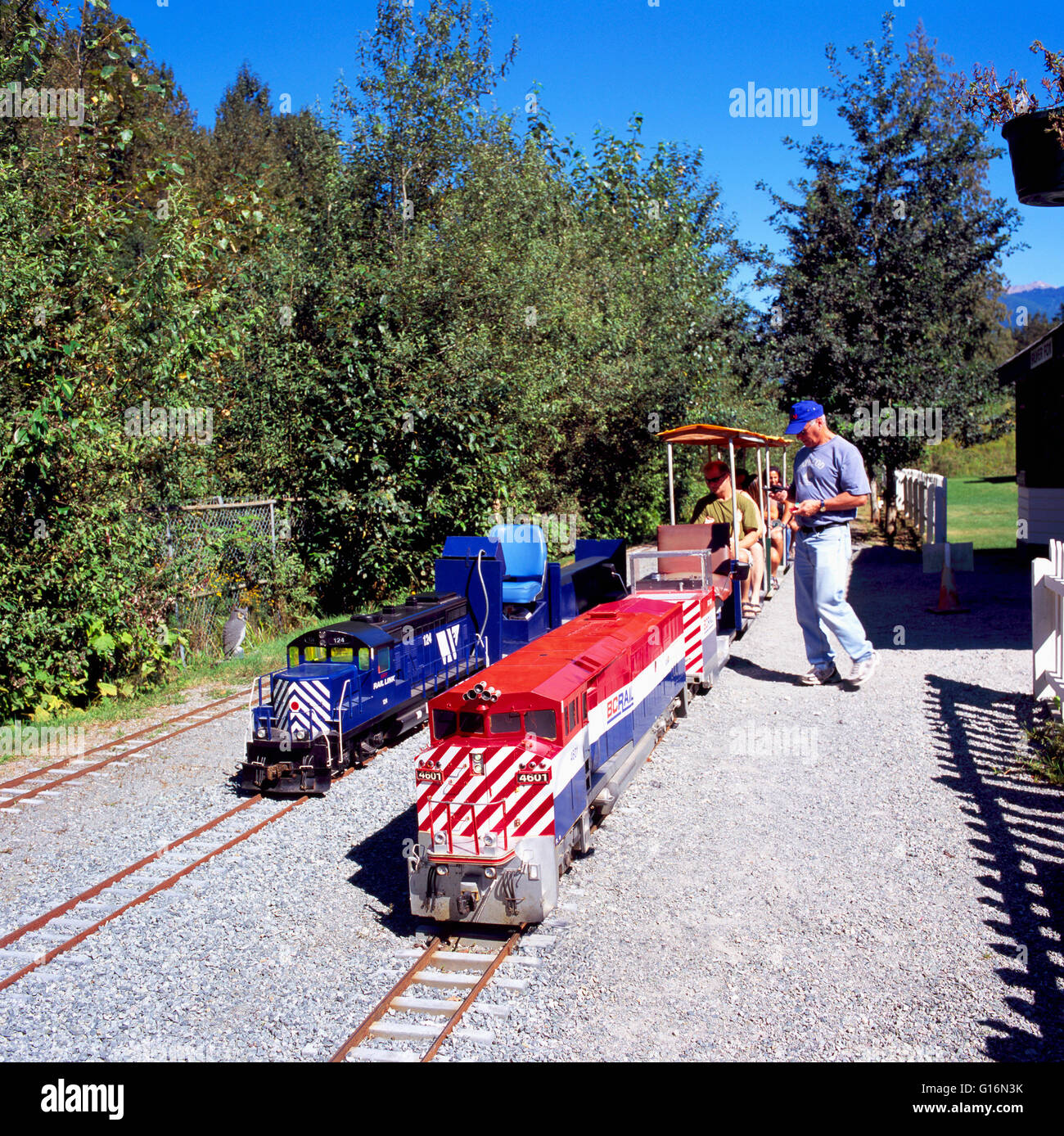 Miniature Train and Locomotive Engine at West Coast Railway Heritage Park, Squamish, BC, British Columbia, Canada - Stock Image