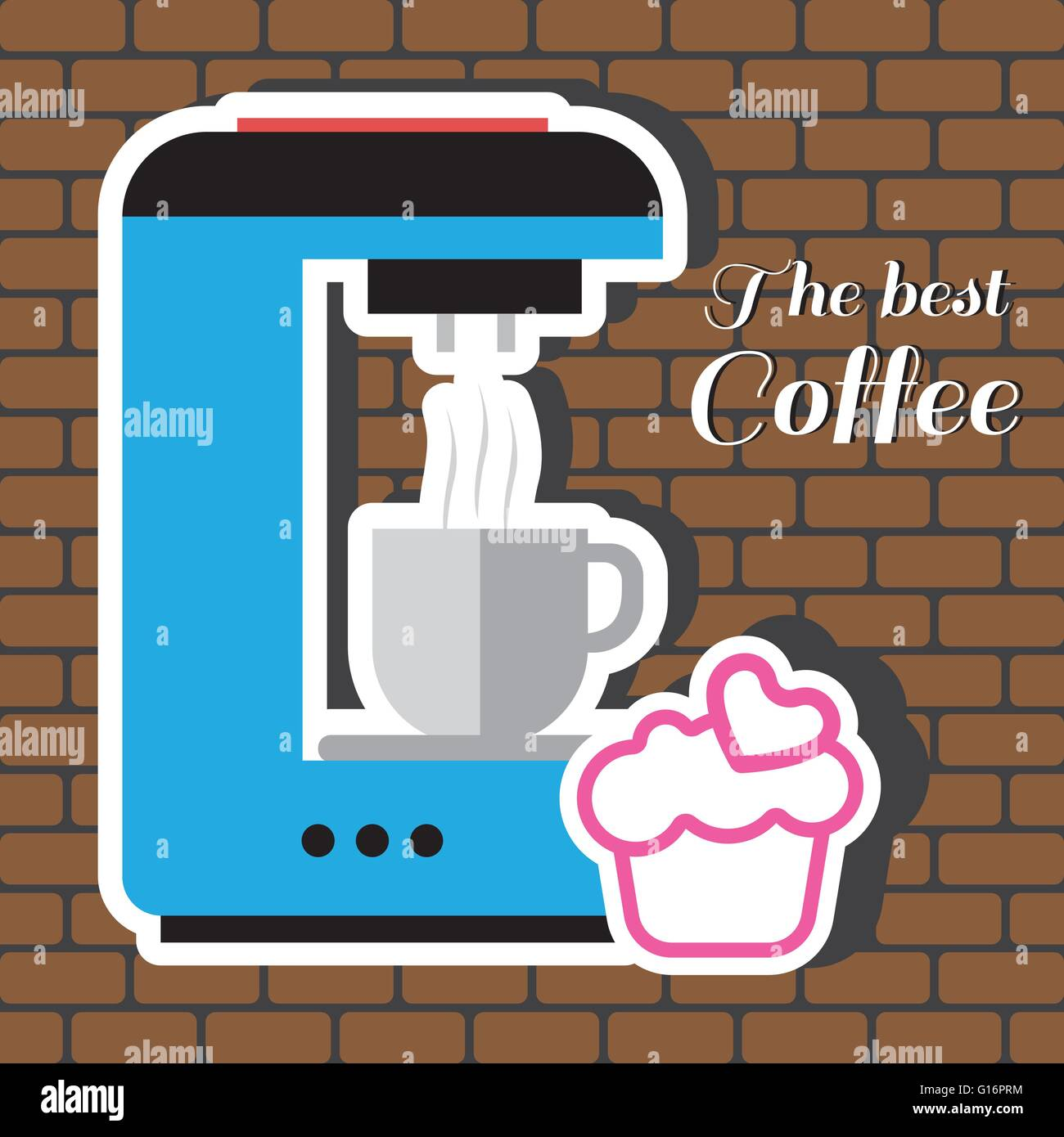 A Blue Coffee Maker Machine With Cup Of Pink Cake Heart