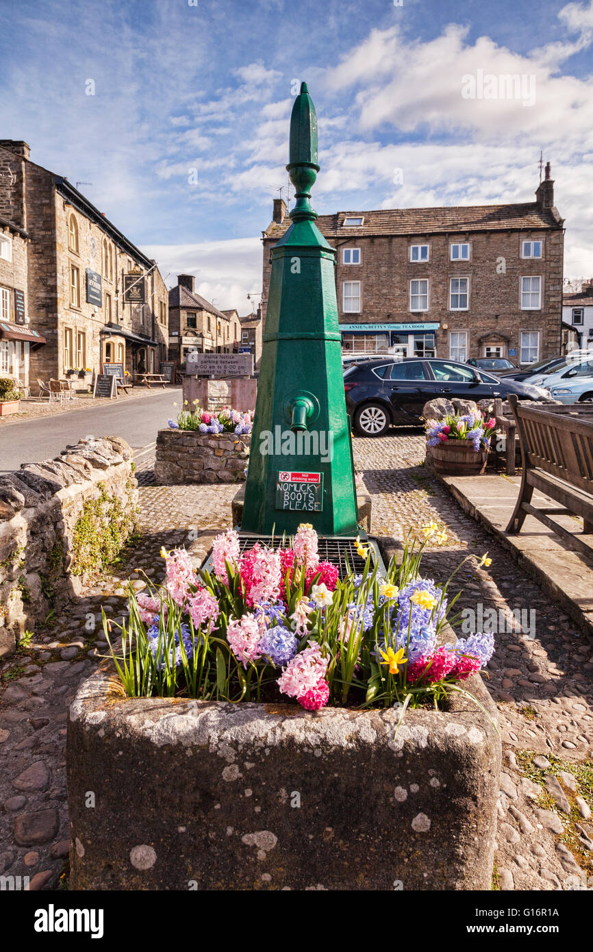 Restored water pump in the village of Grassington, Yorkshire Dales National Park, North Yorkshire, England, UK - Stock Image