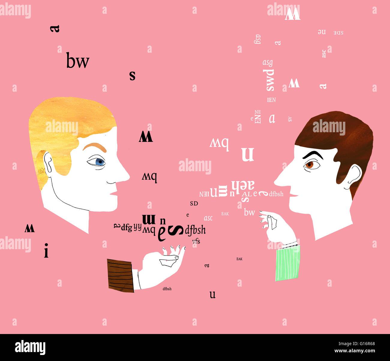 two men having a miscommunication - Stock Image
