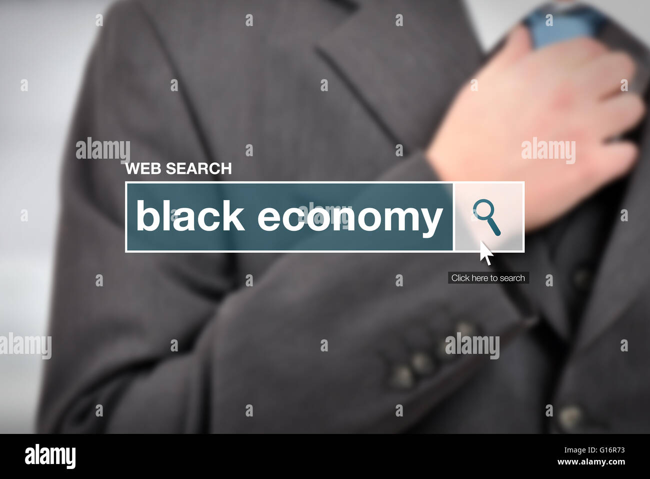 Black economy - web search bar glossary term on internet - Stock Image