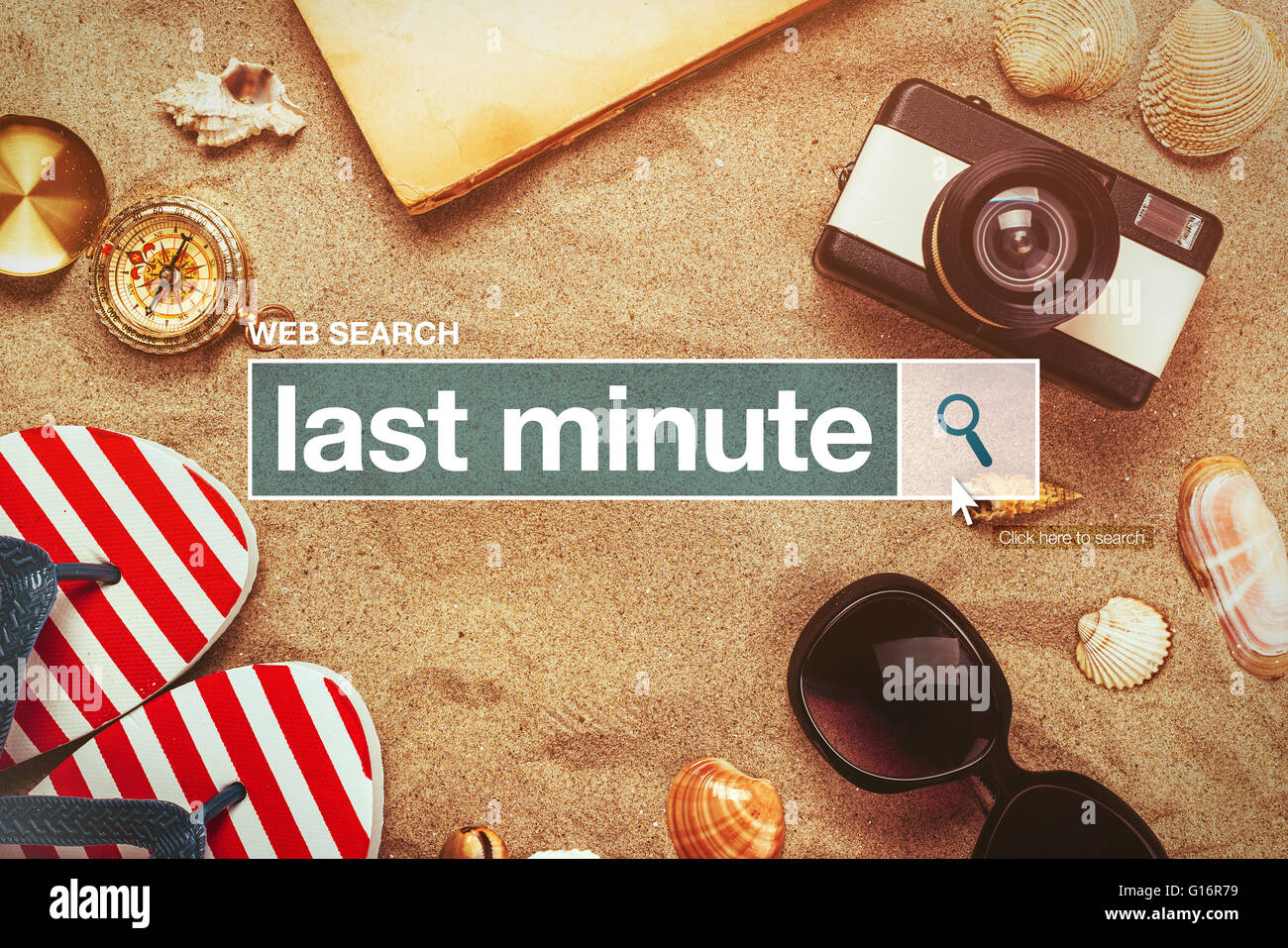Last minute web search bar glossary term on internet, last minute tourist agency arrangement offers - Stock Image