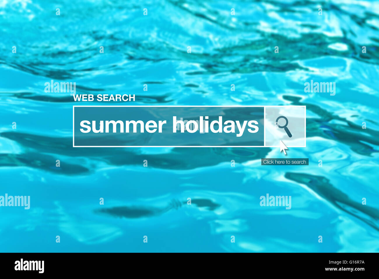 Summer holidays - web search bar glossary term on internet - Stock Image