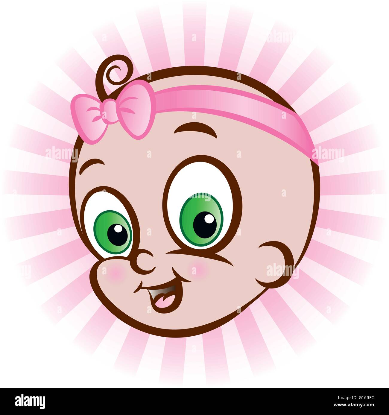vector illustration of baby girls head. it is a girl. - Stock Vector