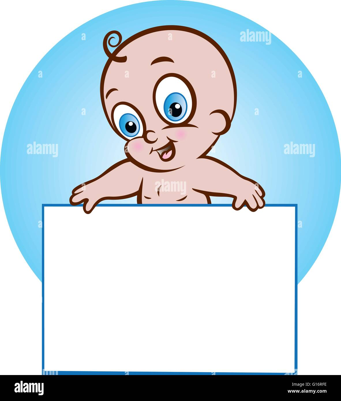 vector illustration of baby boy holding a blank banner - Stock Image
