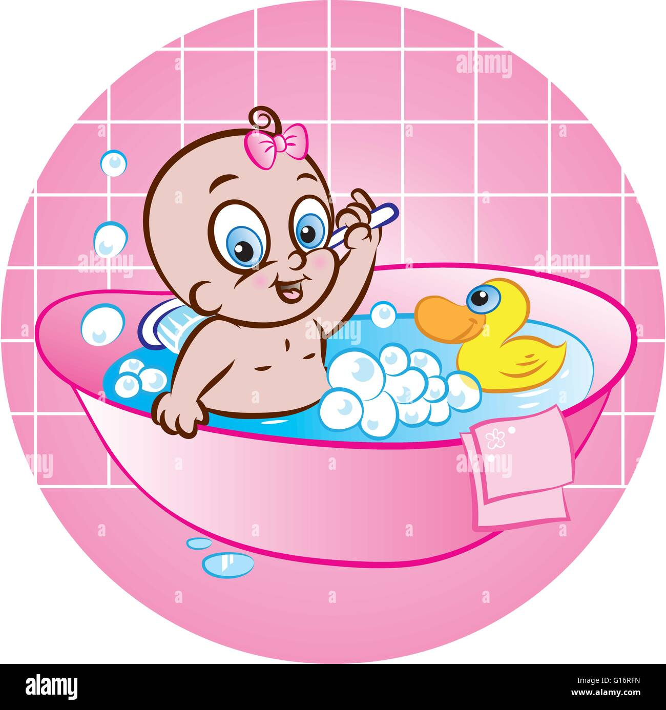 vector illustration of cute baby girl taking a bath in tub and Stock ...