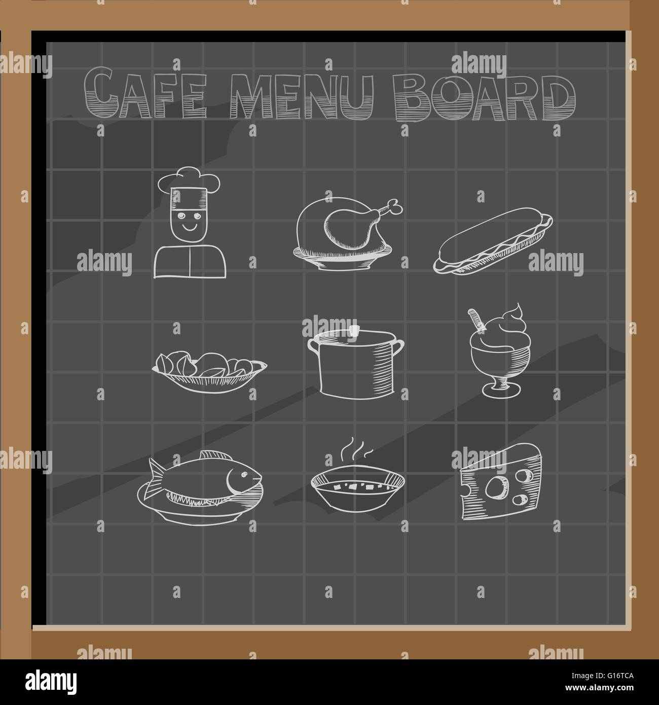 Top Hand drawn cafe menu board signs and food collection on chalkboard  EH91