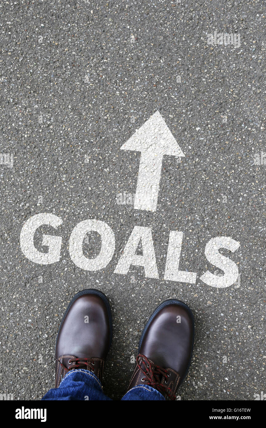 Goal goals to success aspirations and growth targets business concept - Stock Image