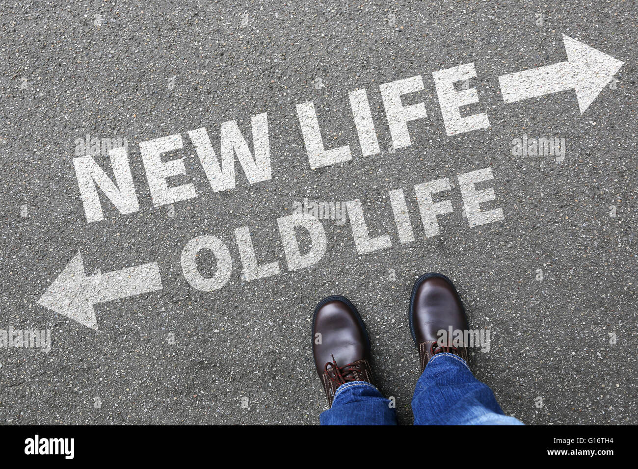 Old new life future past goals success decision change decide choice - Stock Image