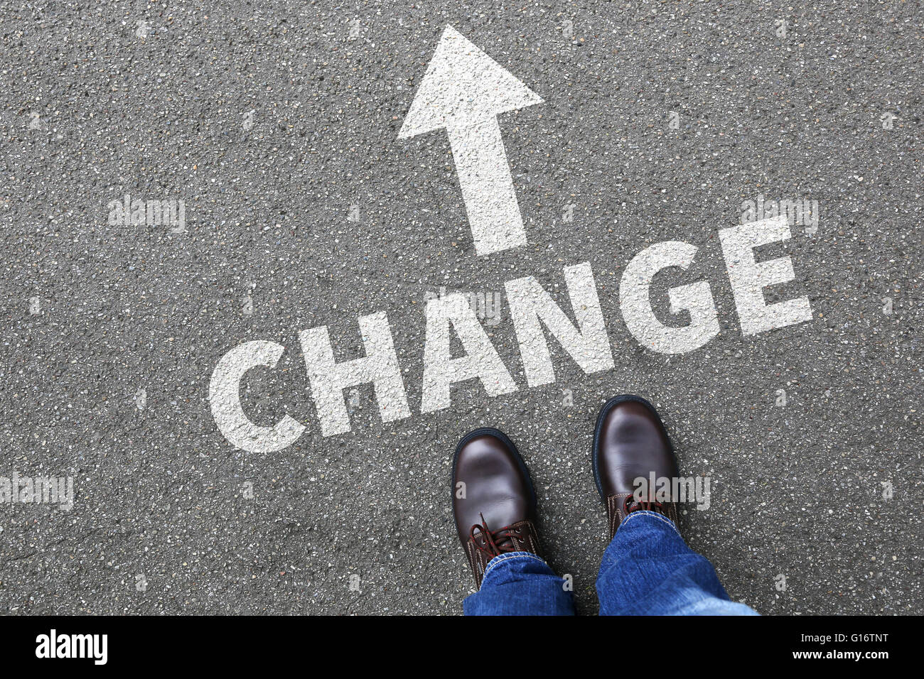 Change changing work job life changes concept vision - Stock Image