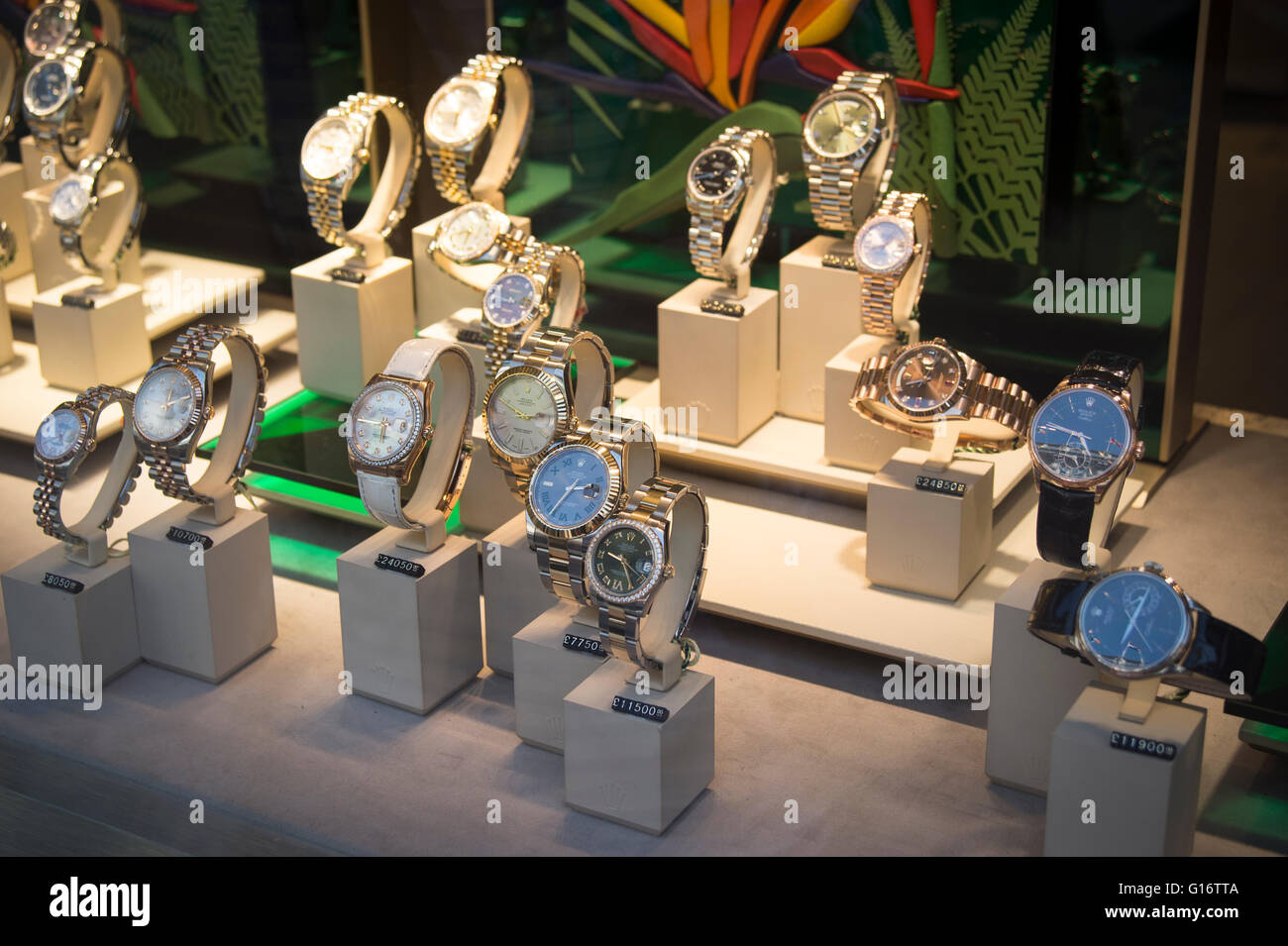 Rolex watches on display in a jewelers window - Stock Image
