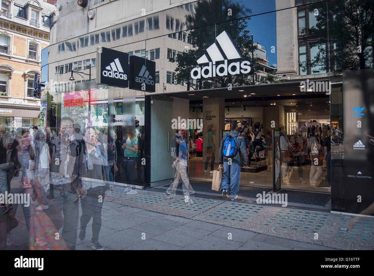 more photos 76e63 9dcbb ... Frankfurt town center, Germany. C40PKB (RM). Blurred shoppers in  London s Oxford Street by the Adidas store - Stock Image