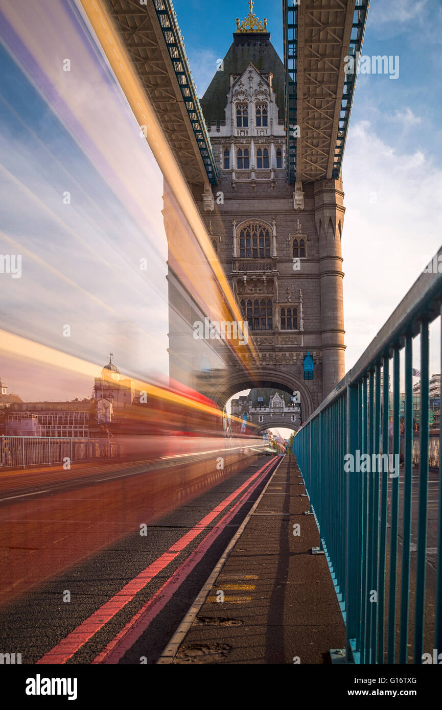 Tower Bridge, London, with blurred traffic - Stock Image