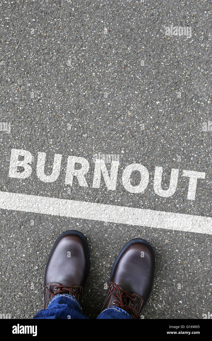 Burnout ill illness stress stressed at work business concept overworked - Stock Image
