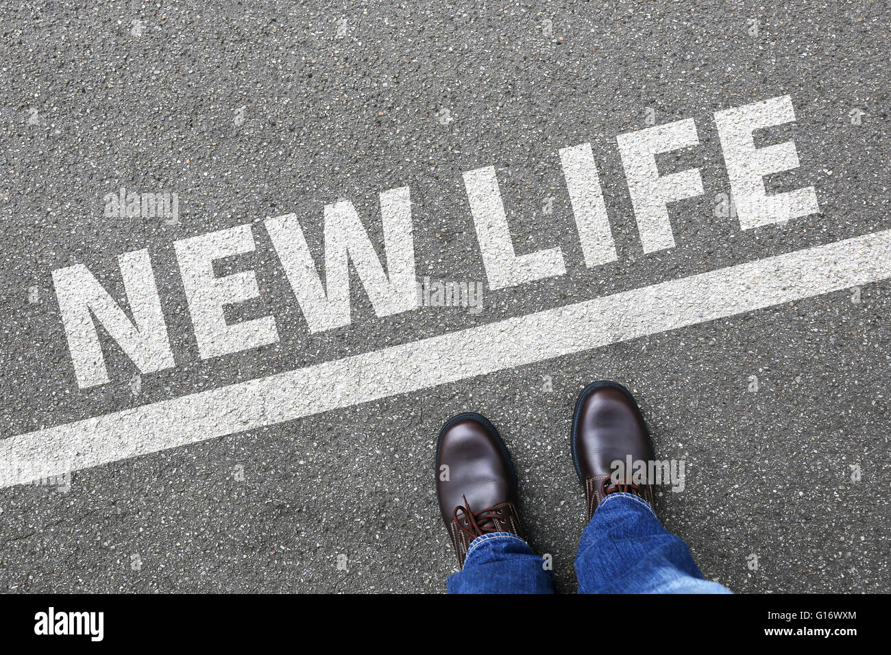 New life beginning beginnings future past goals success decision change decide - Stock Image