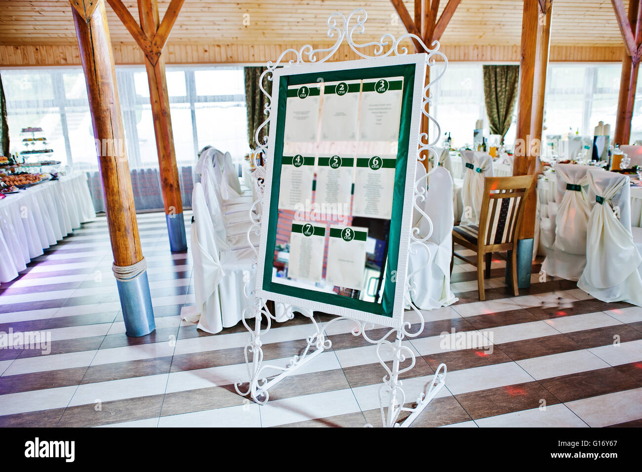 Wedding guest list planner of numer of they table on wedding party - Stock Image