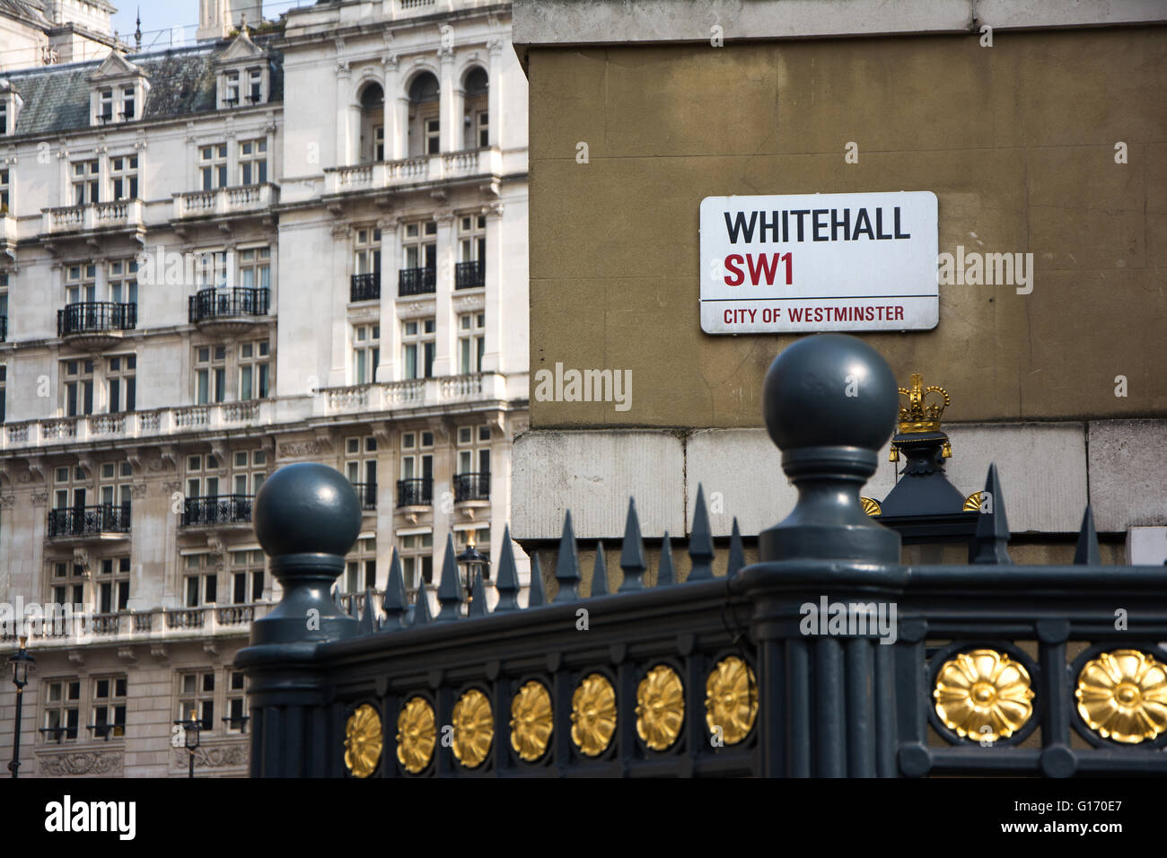 Whitehall sign and buildings, Westminster, London, England - Stock Image