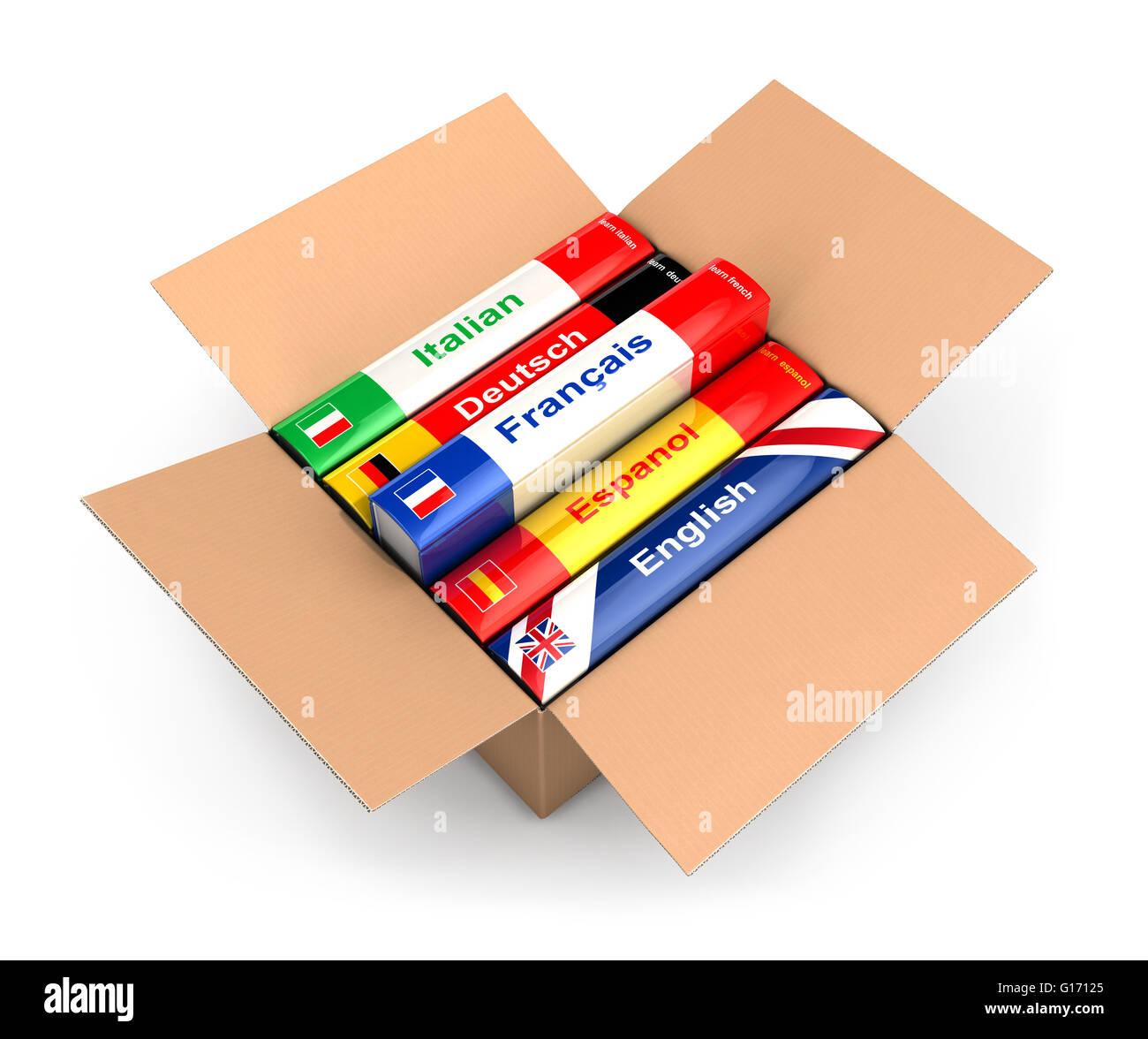 3d box with language books, isolated white background Stock Photo