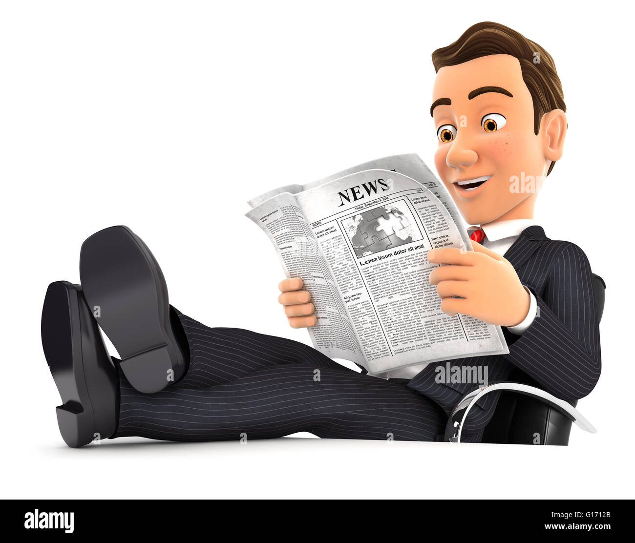 3d businessman reading newspaper with feet on desk, isolated white background Stock Photo