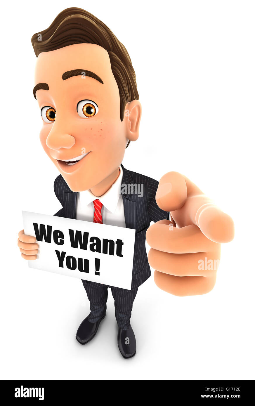 3d businessman with we want you message, isolated white background Stock Photo