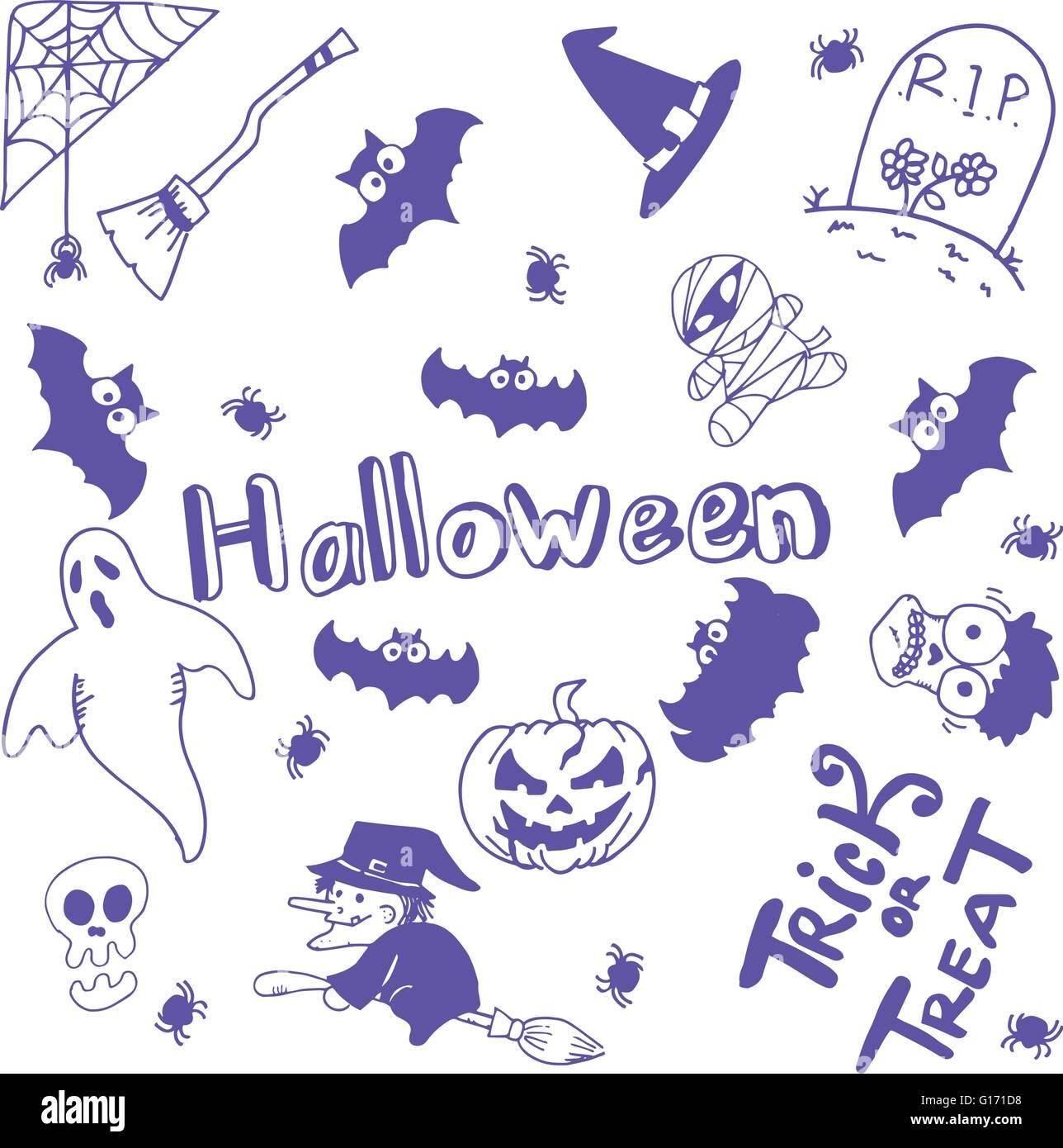 Halloween Characters Doodle Art