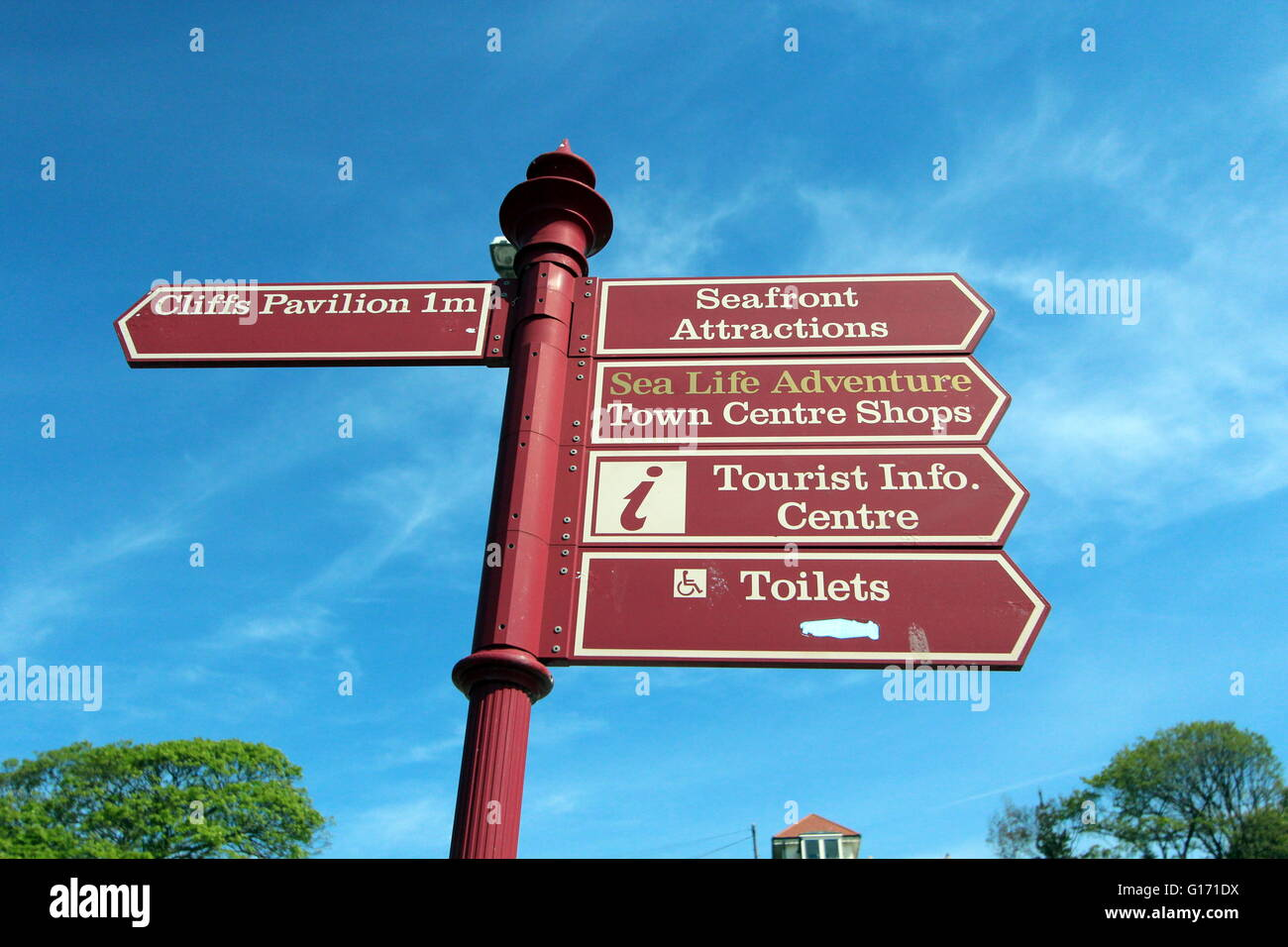 Directional sign in Southend On Sea - Stock Image