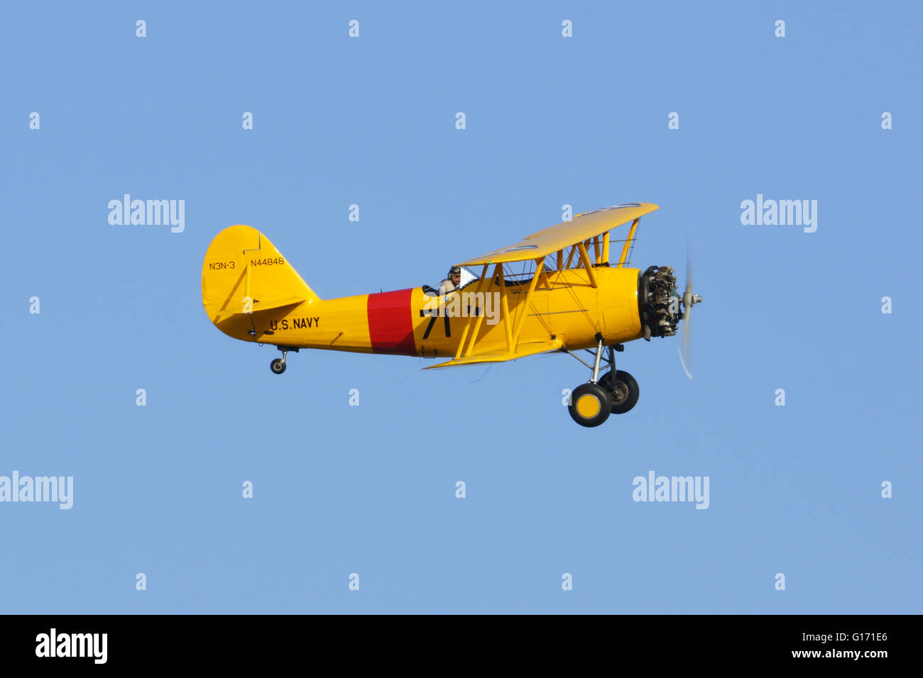Airplane vintage bi-plane at 2016 Planes of Fame Air Show in Chino, California - Stock Image