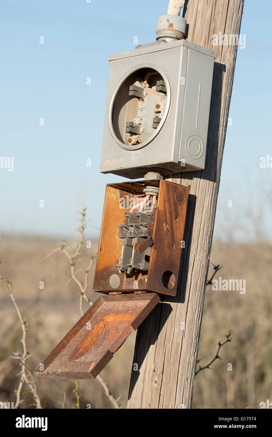 Old Electric Fuse Box Stock Photos Older Electrical Boxes Power In Orla Texas Image