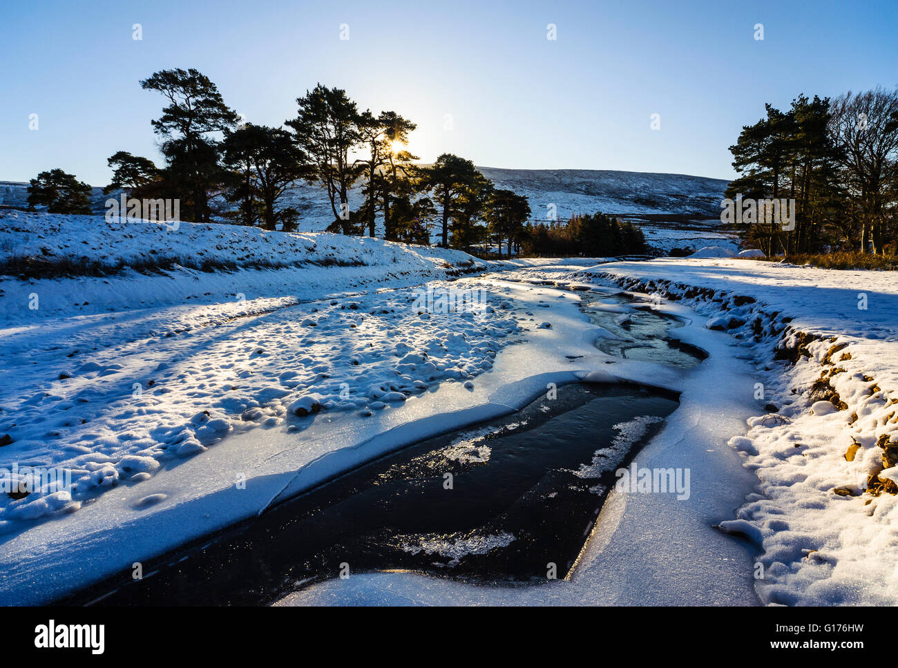 Winter morning on the Marshaw Wyre river near the Trough of Bowland in the Forest of Bowland Lancashire England - Stock Image