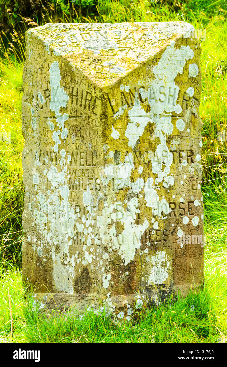 Lichen and graffiti on milestone at top of Trough of Bowland in the Forest of Bowland Lancashire England - Stock Image