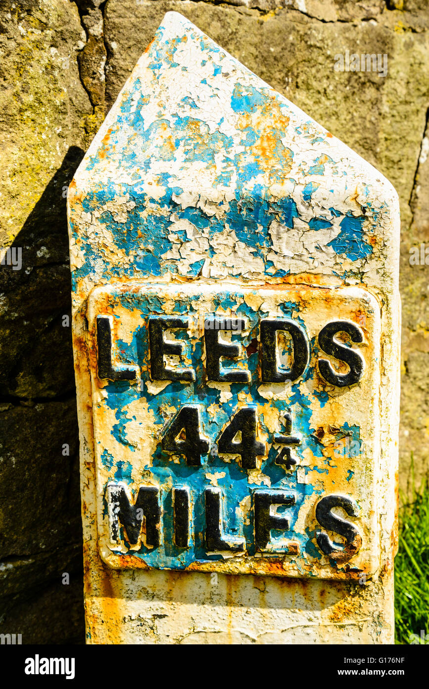 Milestone on the Leeds and Liverpool Canal near Salterforth Lancashire - Stock Image