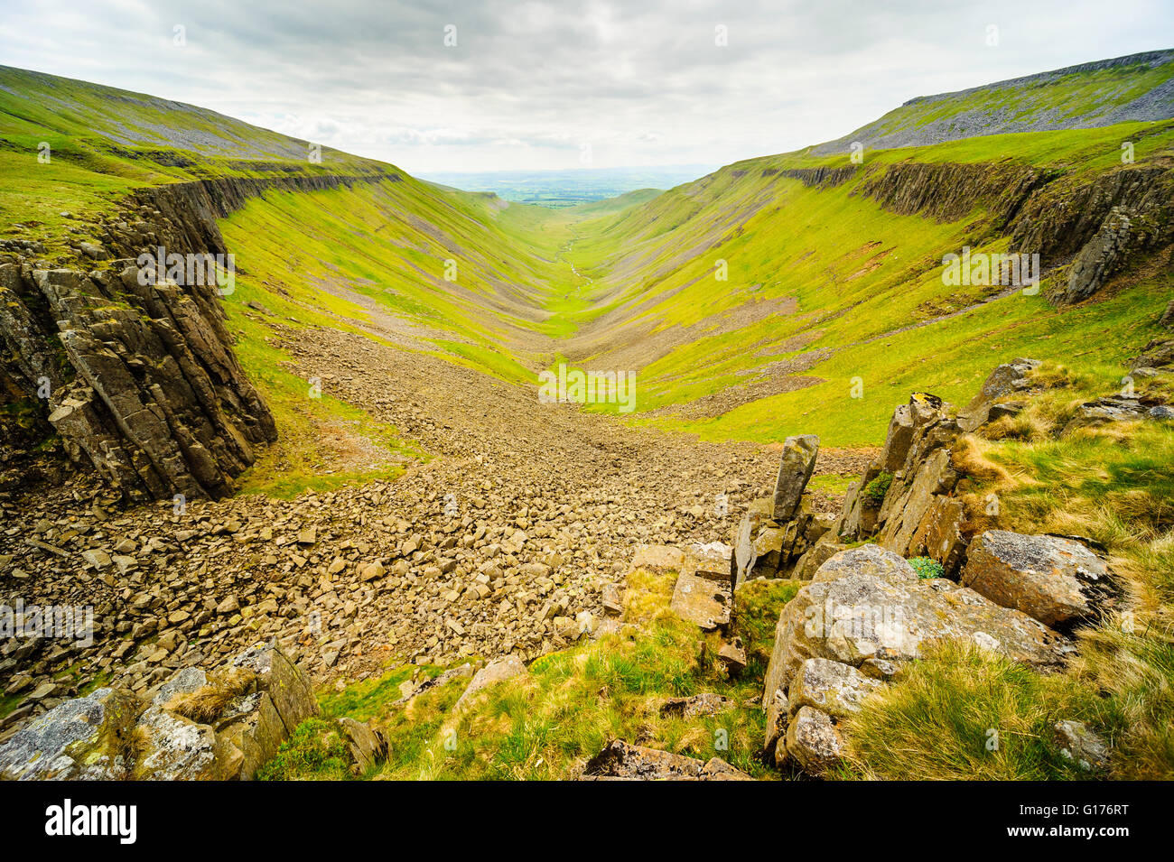 High Cup a dramatic landscape feature in the North Pennines above the Eden Valley Cumbria - Stock Image