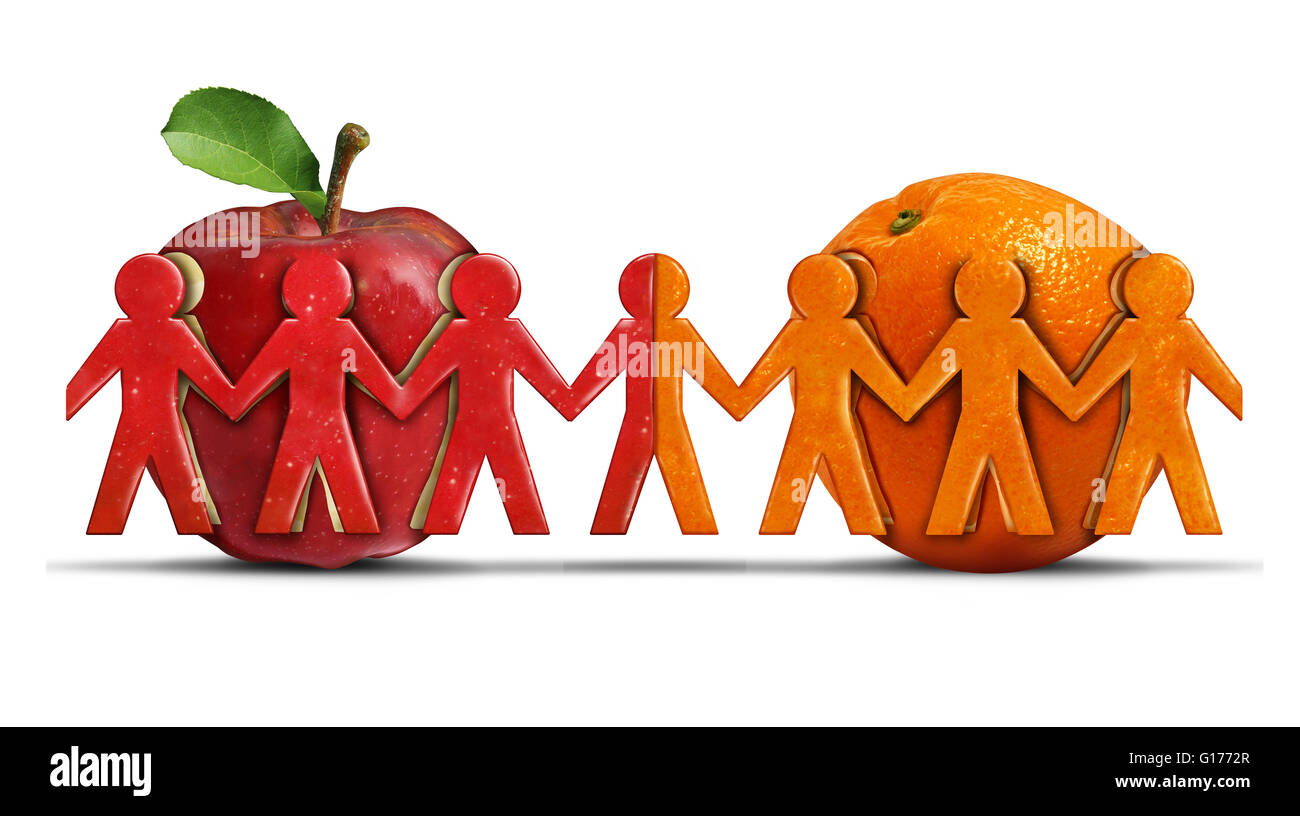 Apples and oranges as a tolerance and friendship symbol for two different groups shaped as people icons coming together - Stock Image