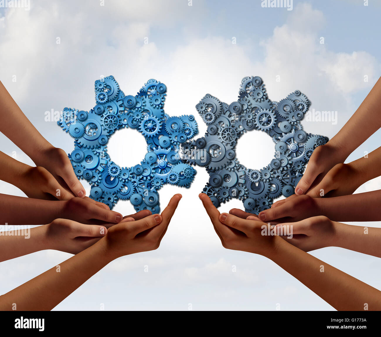 Corporate teamwork and business global cooperation concept as two groups of diverse people joining together holding - Stock Image