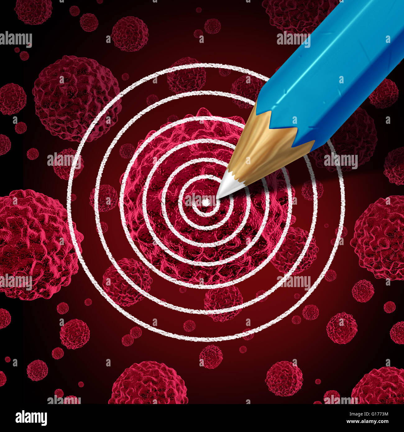 Targeting cancer medical therapy concept as a pencil drawing a target on a cancerous malignant cell as a disease - Stock Image