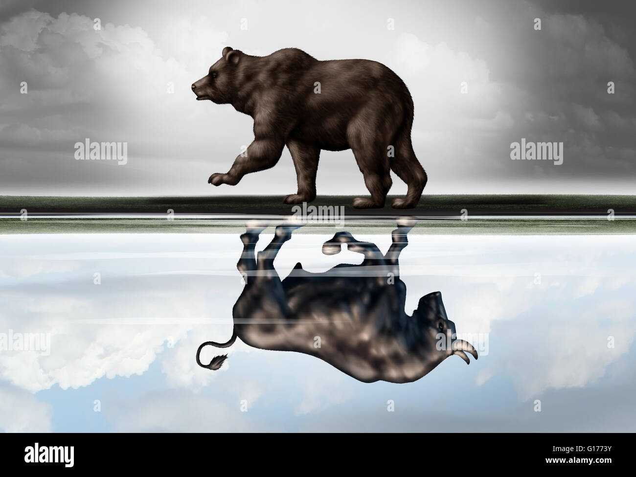 Positive financial outlook business concept as a bear casting a reflection of a forward moving bull as a hopeful - Stock Image