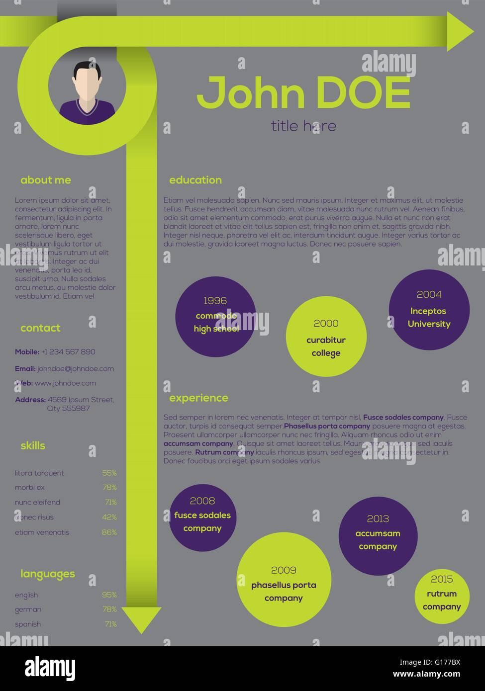 Modern Resume Cv Curriculum Vitae Template Design With Curly Arrows