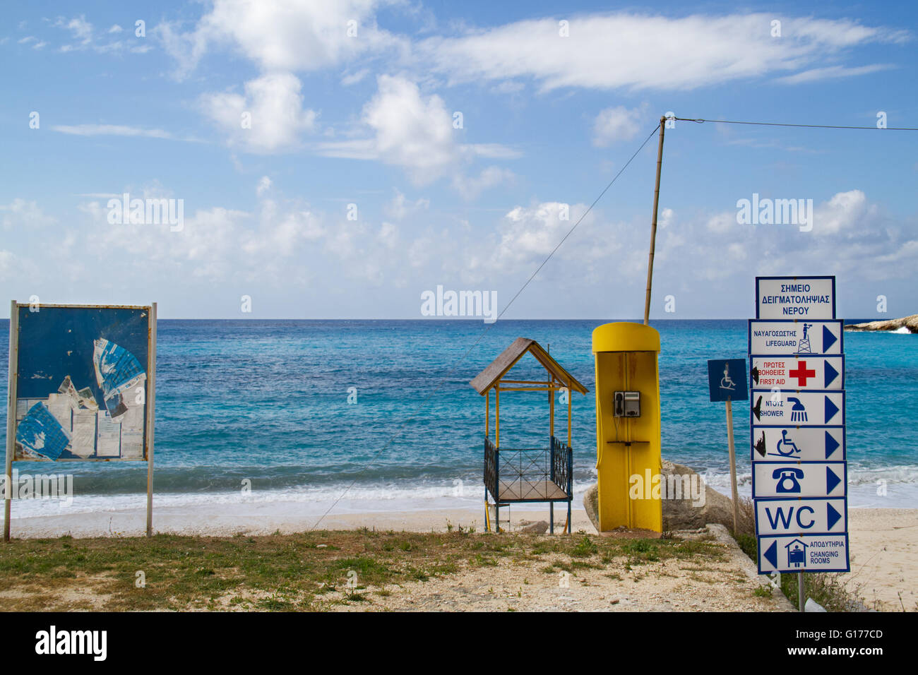 Spoiled view on the sea by all kinds of objects and signs - Stock Image