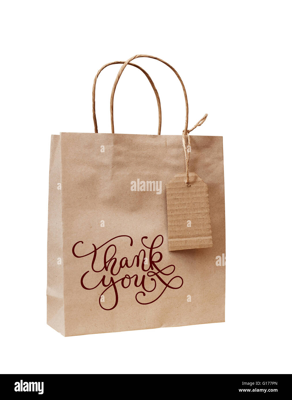 brown kraft paper bag for gift with words thank you stock photo