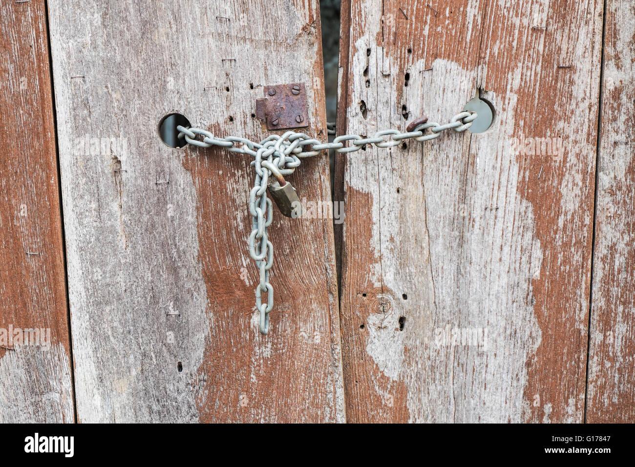 Old Wooden Door With A Locked Door Stock Photo 104036919 Alamy