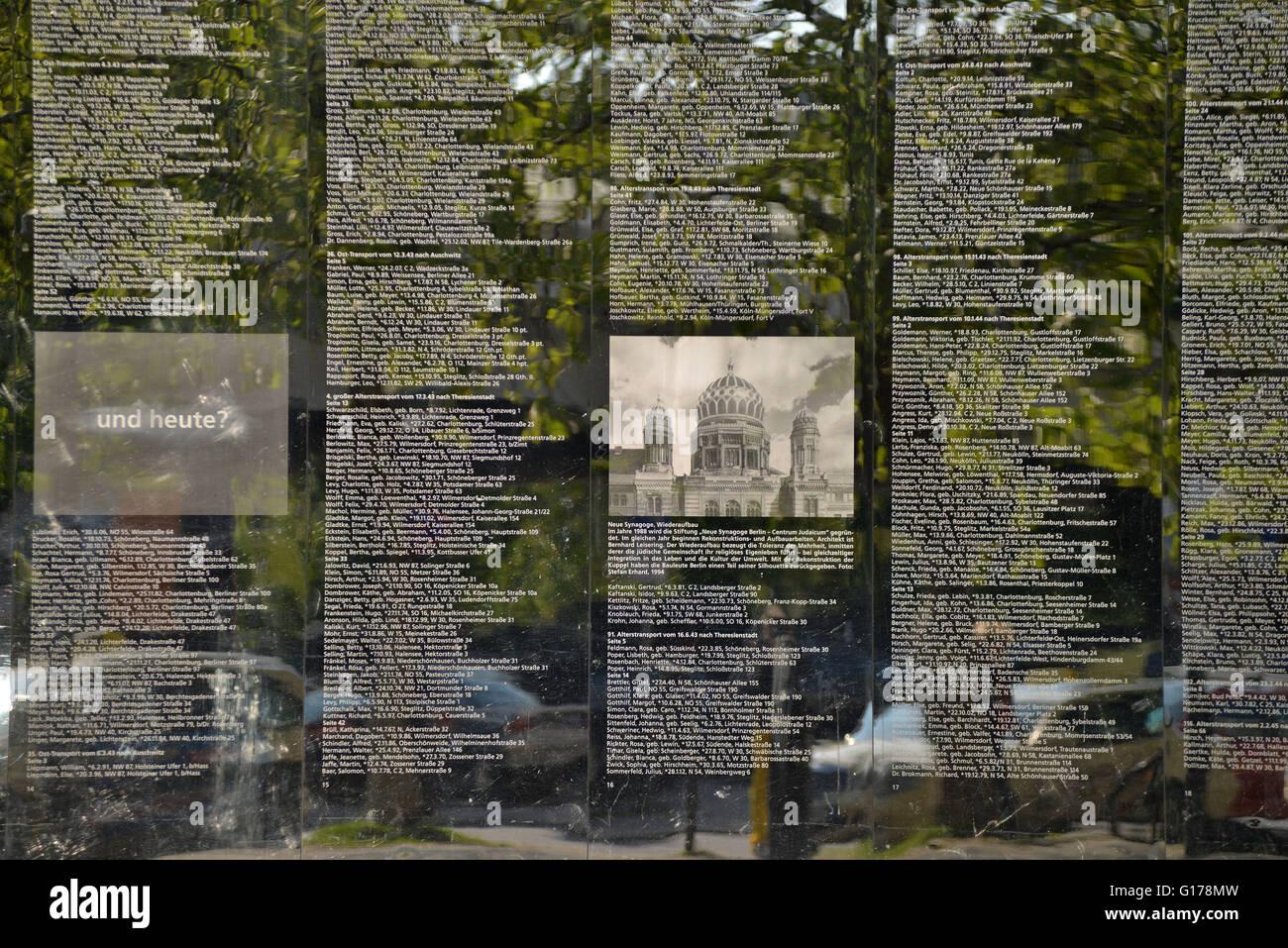 Spiegelwand, Holocaust-Gedenken, Hermann-Ehlers-Platz, Steglitz, Berlin, Deutschland / Holocaust-Gedenkstaette - Stock Image
