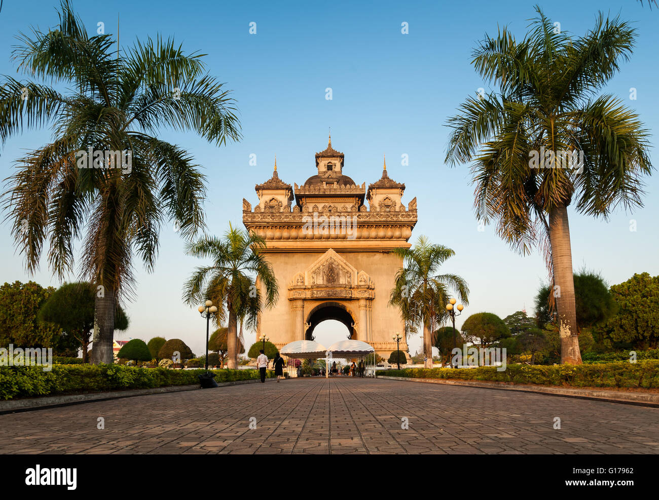 Patuxay(Patuxai) victory gate in Vientian Laos - Stock Image