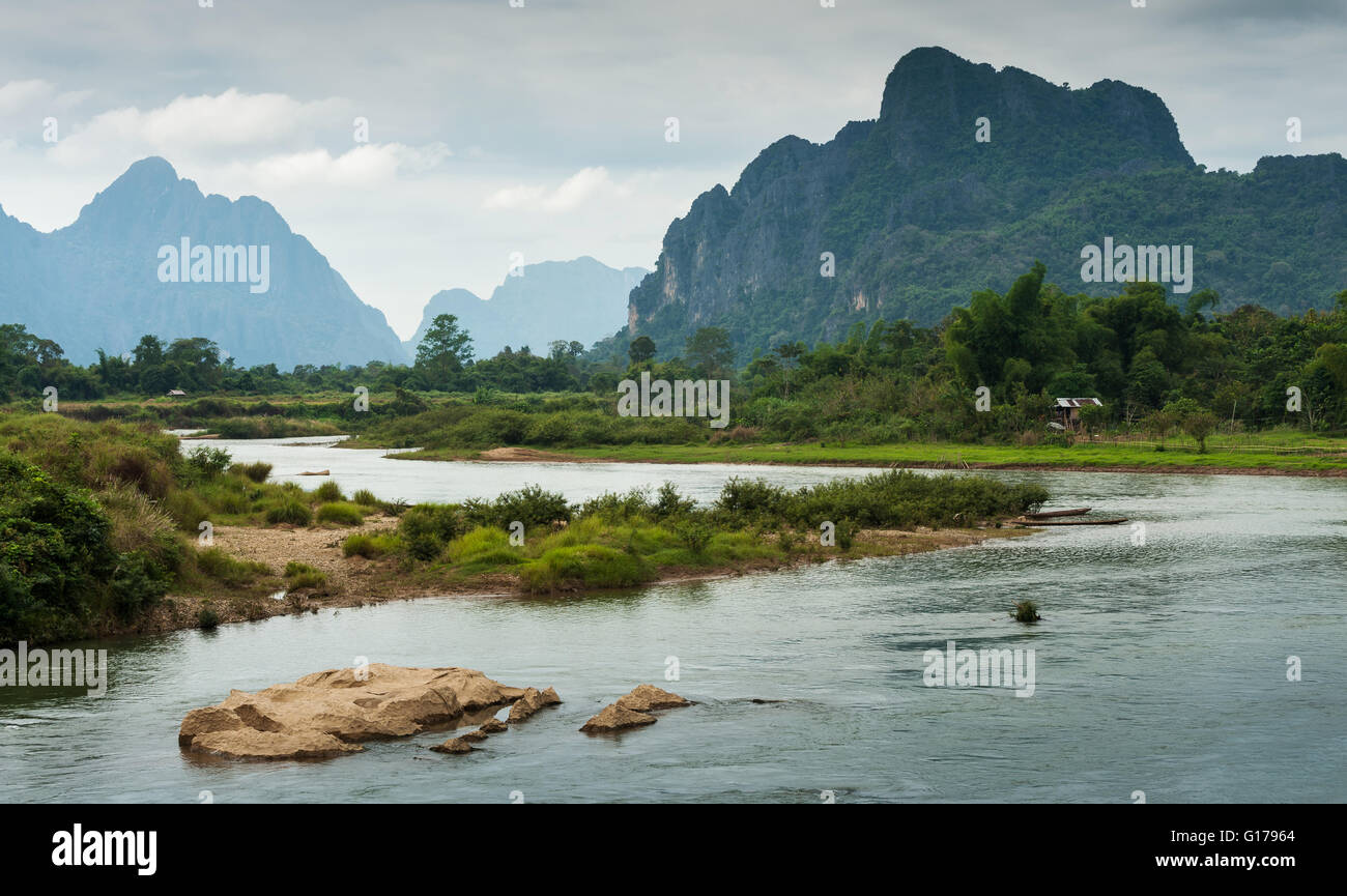Landscape of Nam Song River at Vang Vieng, Laos - Stock Image