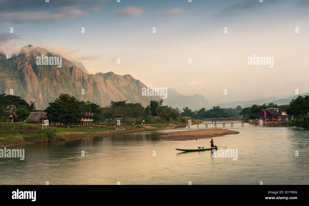 Landscape of Nam Song River in morning, Vang Vieng, Laos - Stock Image