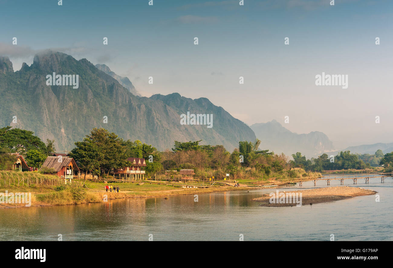 Landscape of Nam Song River in morning ,Vang Vieng, Laos - Stock Image