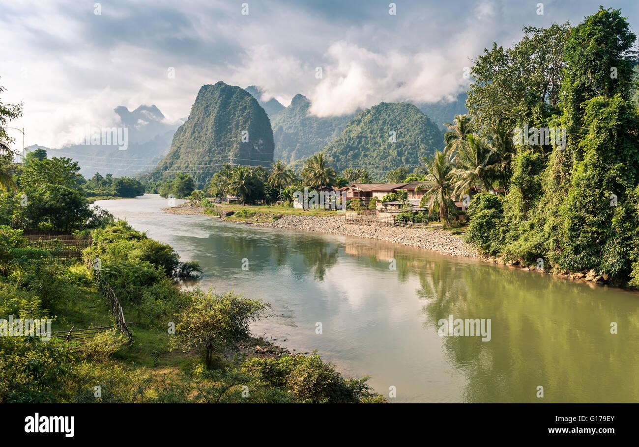Landscape of Nam Song River at Vang Vieng, Laos Stock Photo