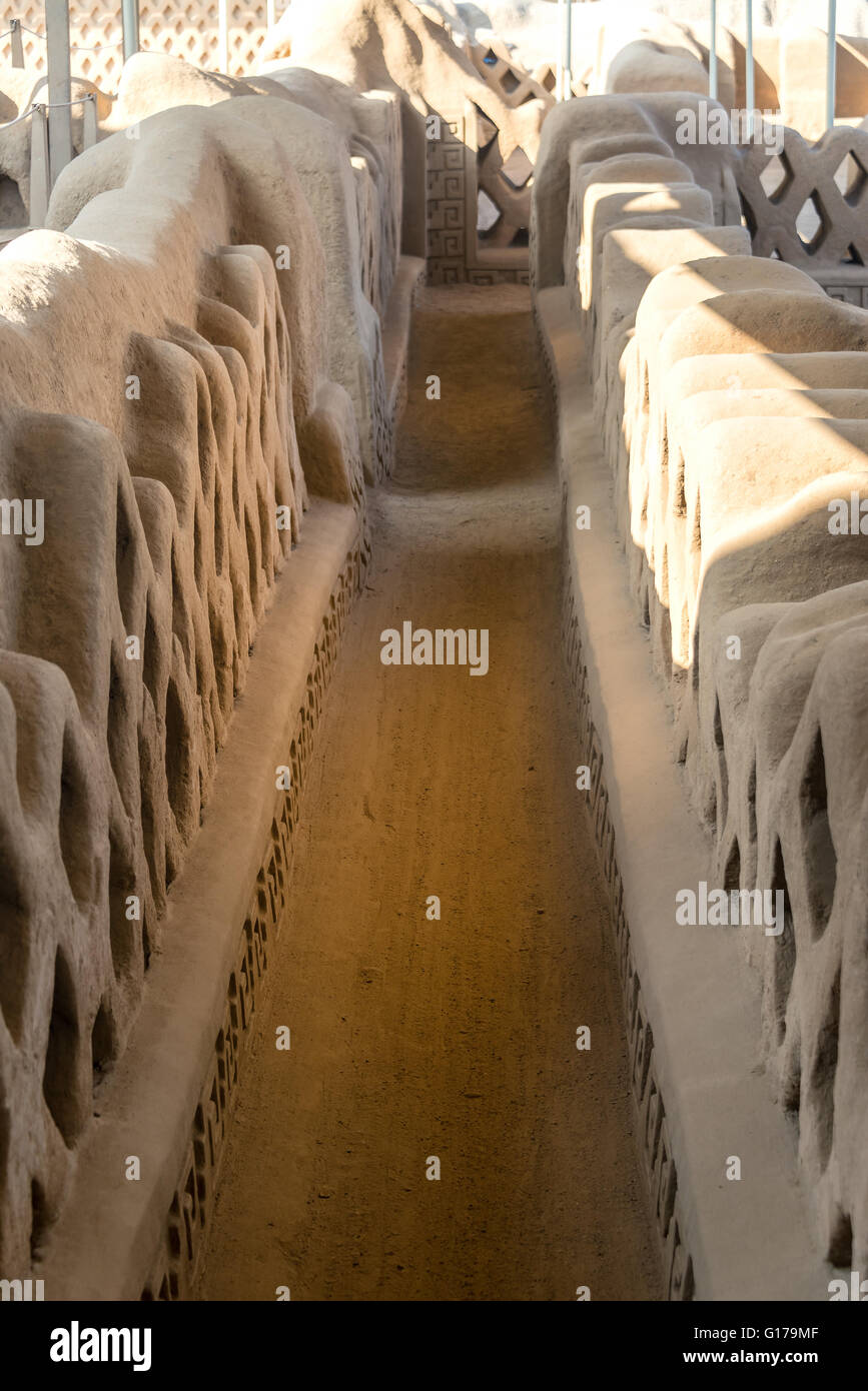 Hallway in the ancient adobe city of Chan Chan in Trujillo, Peru - Stock Image