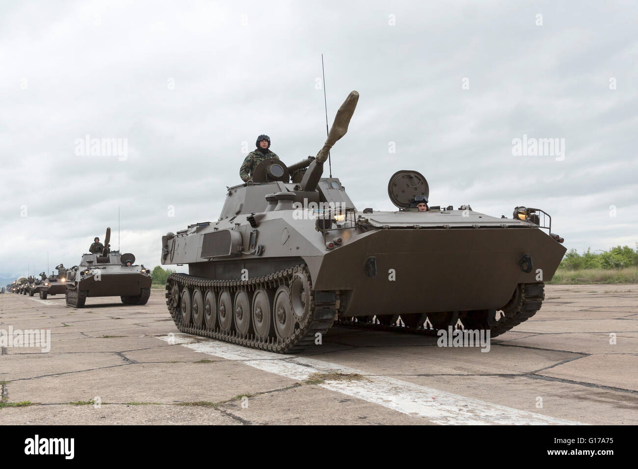Sofia, Bulgaria - May 4, 2016: Soldiers from the Bulgarian army are preparing for a parade for Army's day. They - Stock Image