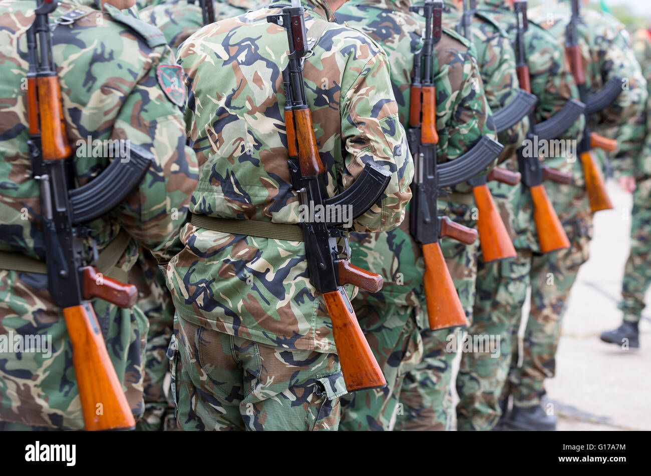 Soldiers from the Bulgarian army are preparing for a parade for Army's day in uniforms with Kalashnikov AK 47 - Stock Image