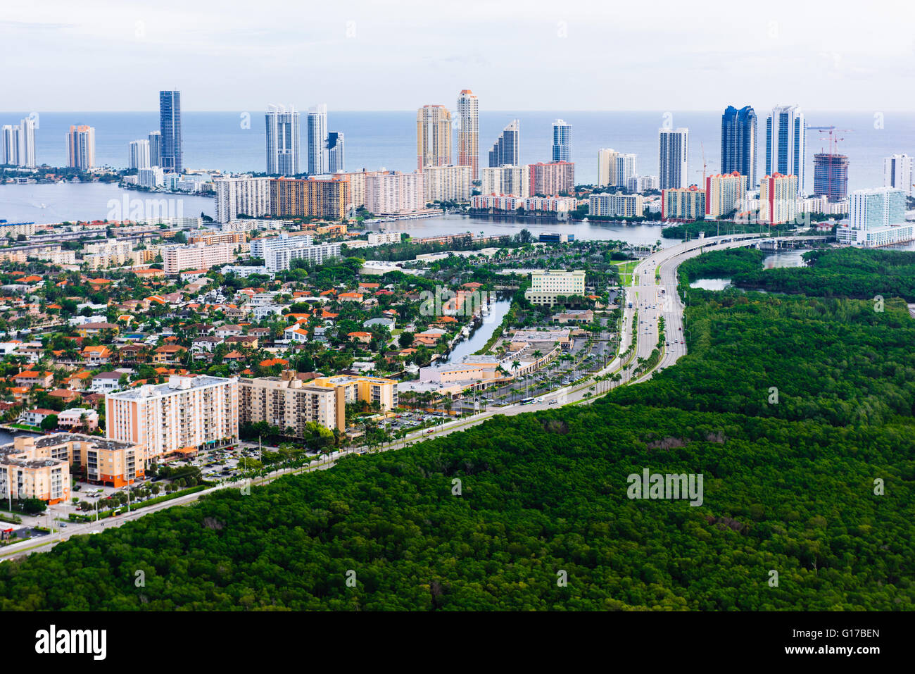 Aerial view of skyscrapers and urban sprawl, Aventura, Miami, Florida, USA - Stock Image